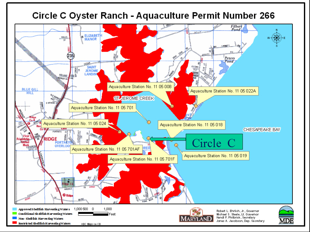 Circle C Oyster Ranch map showing operations in Scotland, Md.
