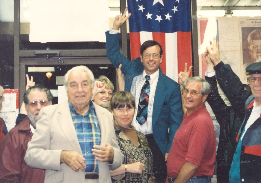 Jack Rue and Commissioner Larry Jarboe lead the 1994 election night party for the GOP sweep in St. Mary's County general election. THE CHESAPEAKE TODAY photo