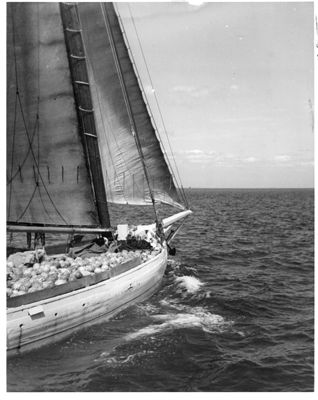 Skipjack load of watermelons on Chesapeake Bay