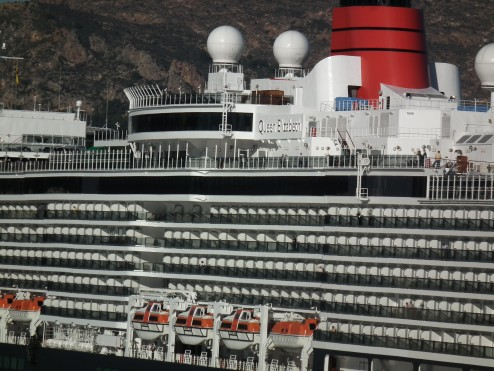 The new Cunard Lines Queen Elizabeth at dock at Carthegena, Spain, two weeks after she entered service in October, 2010.  Copyright THE CHESAPEAKE photo