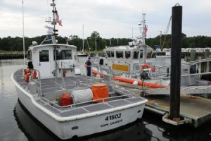 Coast Guard Station Cape Charles' new 45-foot Response Boat - Medium is shown moored next to the station's 41-foot Utility Boat (UTB), Friday, Aug. 24, 2012. The RB-M marks the 100th boat of 166 being delivered to the Coast Guard to replace the aging UTB fleet. U.S. Coast Guard photo by Petty Officer 3rd David Weydert
