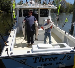 RJ and Jake on the Three J's with big rockfish from Buzz's Marina, the rockfish center of the Chesapeake Bay