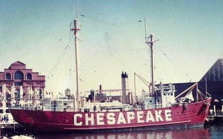 """Coast Guard lightship """"Chesapeake"""" formerly located at entrance to Chesapeake Bay now on display in Baltimore, Md. THE CHESAPEAKE TODAY photo"""