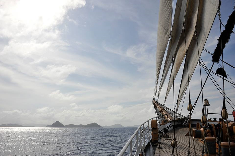 United States Coast Guard Barque EAGLE sails through Drake's Passage, named for Sir Francis Drake. This transit through the Virgin Islands was a culmination of the sail and line handling training that cadets and crew have been practicing since leaving Connecticut 11 days ago.
