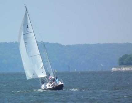 Breezing past St. Clement's Island on the Potomac River. copyright THE CHESAPEAKE TODAY photo