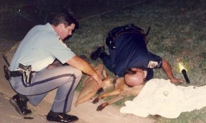 First aid for downed pooch from St. Mary's County Sheriff's Deputies Darryl Greb, left and William Bell, right. See more of top cops at work in The Story of The Rag in eBook, paperback and Audible