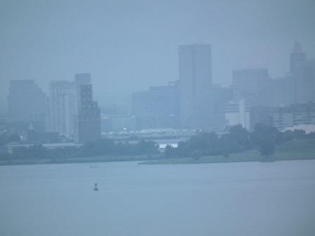 Morning mist over Baltimore harbor.  THE CHESAPEAKE TODAY photo