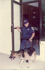 St. Mary's County, Md. Sheriff's K-9 Officer Willam Bell and Taras checking a burglary for a track.