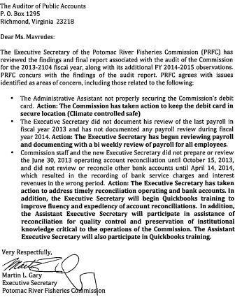 response to PRFC audit