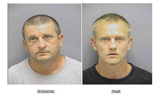 Kenneth William Nicewarner, left, and Joseph Allan Haupt charged with possession of cocaine by Frederick Police.