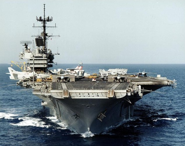 USS Saratoga underway before being decommissioned.  US Navy Photo