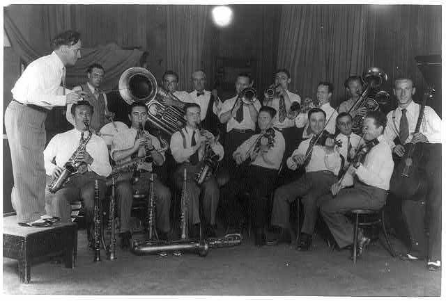 Unidentified band and leader, possibly assembled for a radio program of pupular dance music, circa 1920