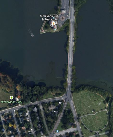Map of area where pedestrian walked into traffic and was killed Dover PD