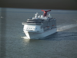 The Carnival Pride sails down the Chesapeake Bay from Baltimore.  The ATF is willing to pay $10,000 for tips on who set arson fire to the senior housing center in Baltimore, which would pay for a cruise on this ship for a family of four.  THE CHESAPEAKE TODAY photo