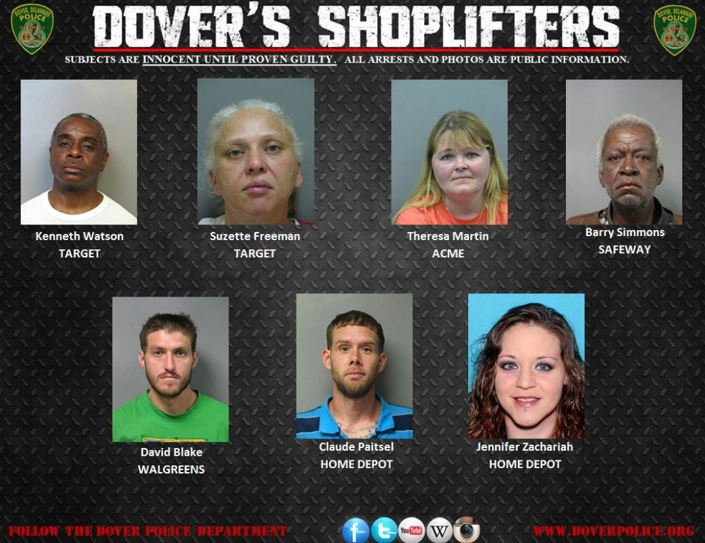 Dover Police Beat DOVER, DEL. --- The Dover Police Department responded to 23 shoplifting calls between Noon on May 14th and Noon on May 21, 2015. Of those 23 shoplifting complaints, 10 are still under investigation, four were unfounded, and 9 arrests/warrants obtained were made in 9 cases. A total of 7 adults and 2 juveniles were arrested during this period.