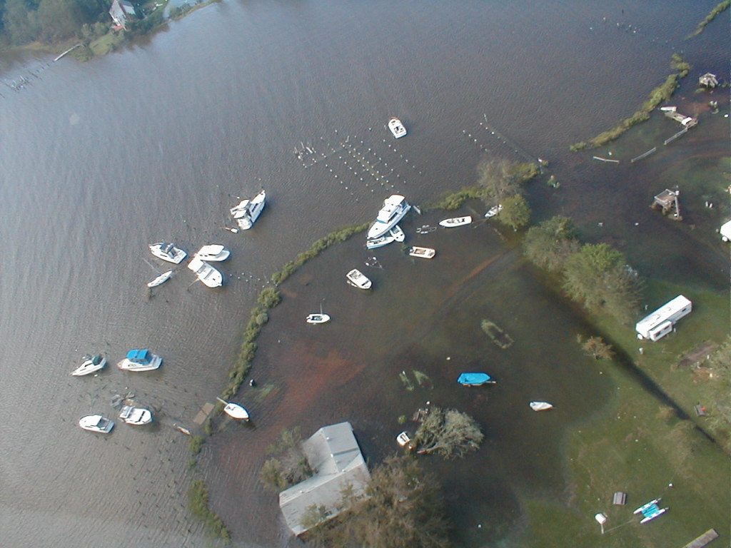 St. Patrick's Creek Campground and Marina was ripped apart and boats shoved on shore in the 2003 visit from Isabel.