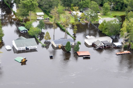 A Coast Guard overflight shows the continuing effects of flooding in the area of the Black River, in Sumpter County, S.C., Oct. 6, 2015. (U.S. Coast Guard photo)