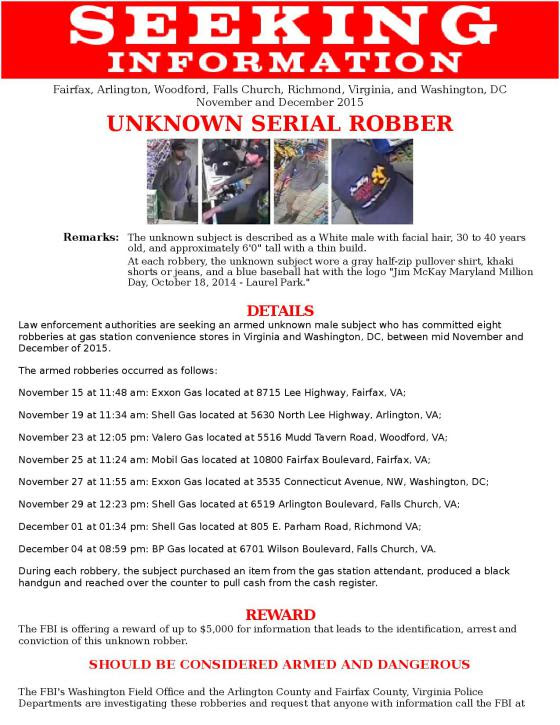 Sunoco gas station robbery on Gallows Road Fairfax