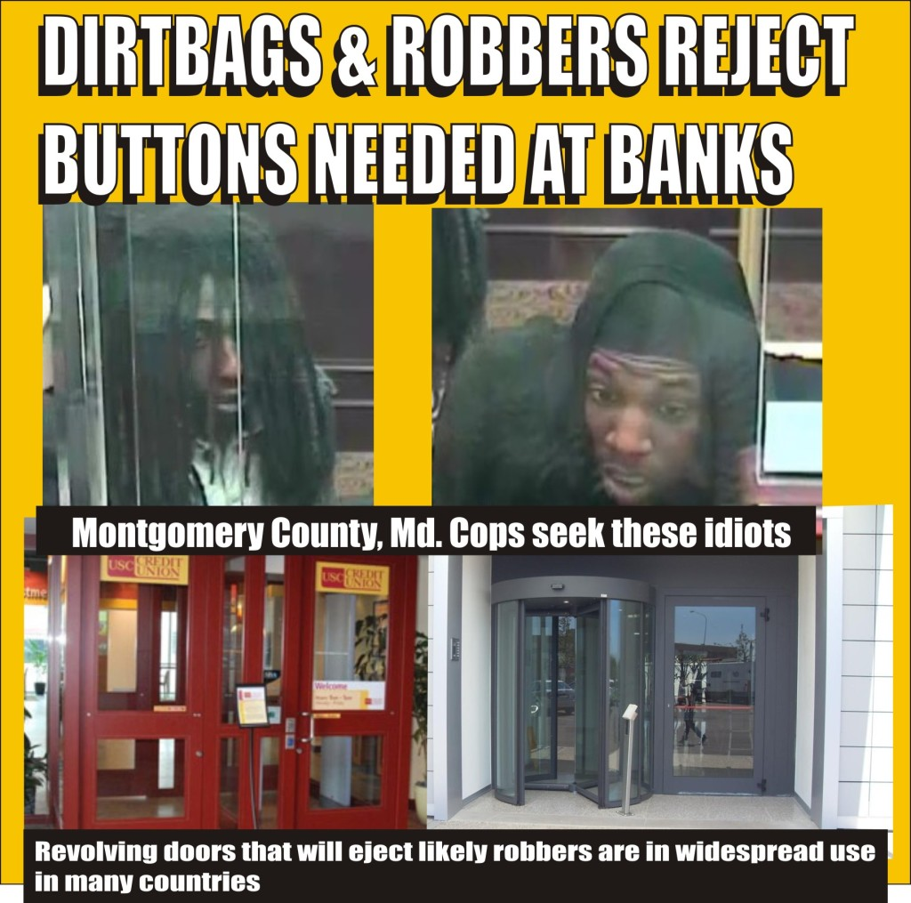 cops say idiots tried to rob bank in  Mont Co Md