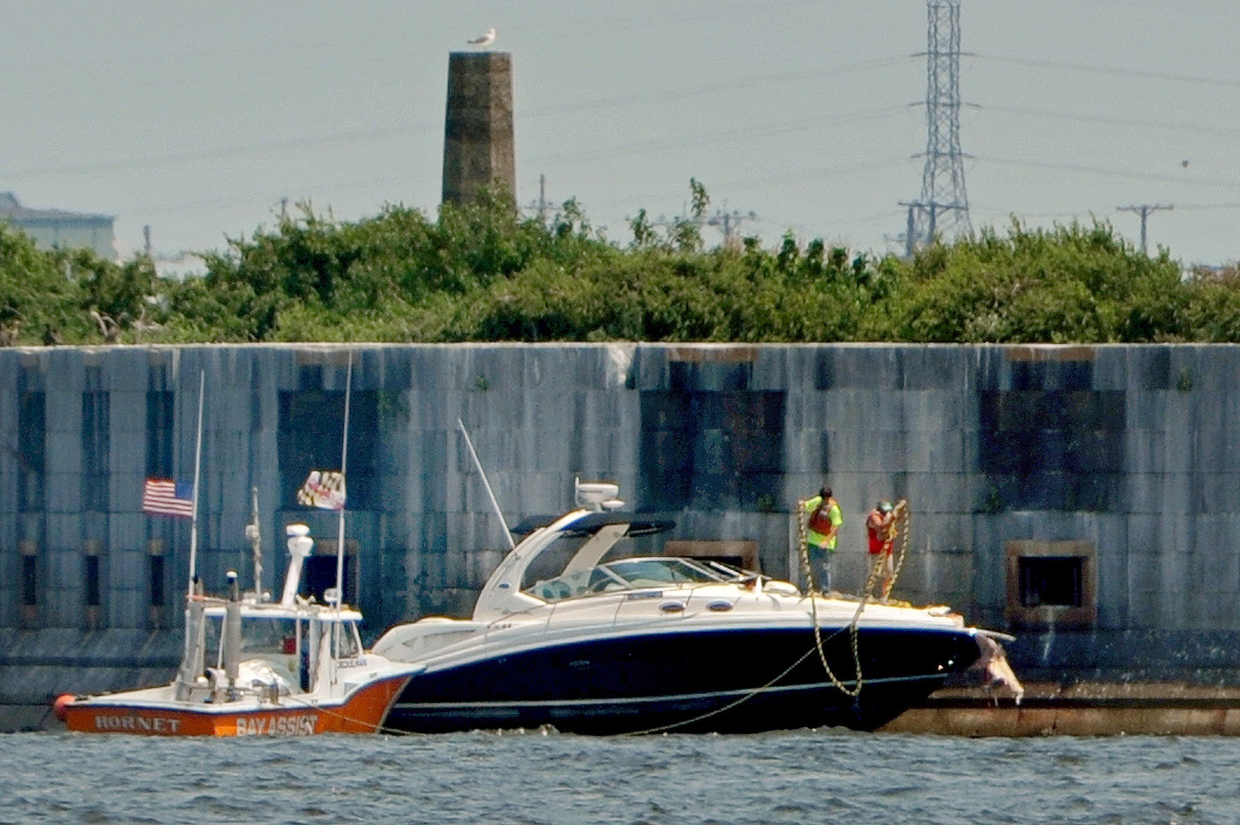 Tim Wilson was operating this 36' speed boat when it hit a concrete bridge abutment for the Key Bridge and killed two passengers July 2015 photo courtesy of Balt Sun