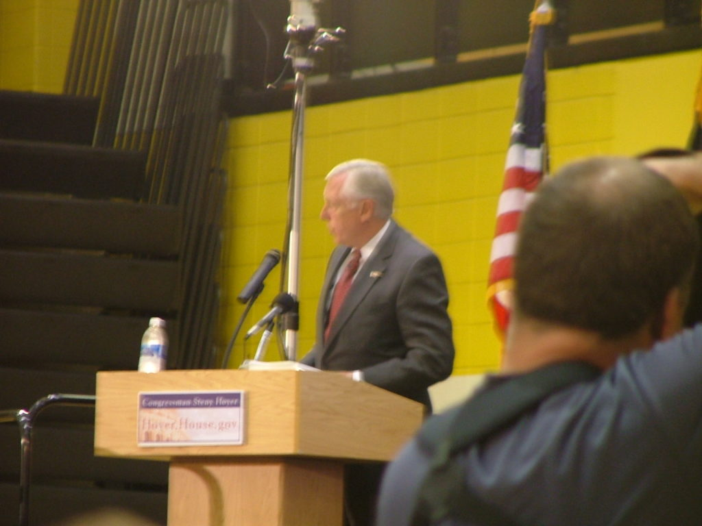 """Congressman Steny Hoyer held a Town Hall meeting in Waldorf in 2008 where he refused to let citizens speak until they listened to his panel of """"experts"""" drone on about the virtues of Obamacare. Hoyer packed the front of the audience with union members brought in on buses from outside the 5th Congressional District. THE CHESAPEAKE TODAY photo"""