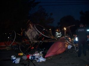 The wreck of an Amish buggy left by the impact of a vehicle. THE CHESAPEAKE TODAY photo